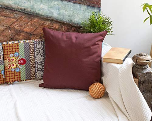 DiseLio 1 Funda de Cojín 100% Algodón Color Teja 45 x 45 cm. Cojines Decorativos con Cordón Vivo al rededor Que destaca su Elegancia. (Made in Spain) (1cl.lis.v-tj45)