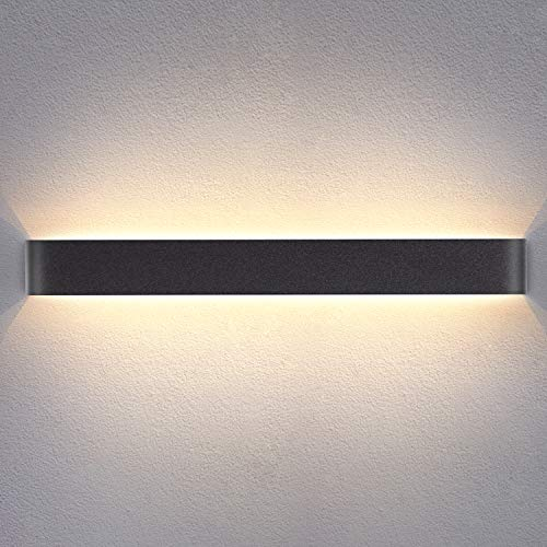 Yafido Aplique Pared Interior LED 90CM Lámpara de pared 30W Blanco Cálido 3000K Negro para Salon Dormitorio Sala Pasillo Escalera AC 220V