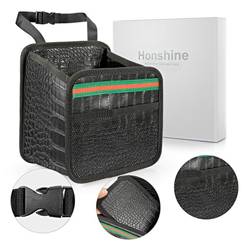 Honshine Car Trash can - Garbage Bag for Your auto with Back seat hangings,Black Leather Trash can with Foldable Design.(Grid)