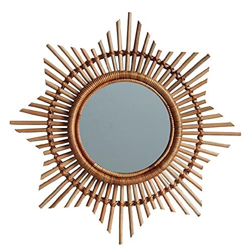 Espejo hecho a mano de ratán nórdico Marco de sol de flores Decoración de pared de vid natural Dormitorio Colgante de pared para el hogar Espejo decorativo Decoración para colgar en la pared del