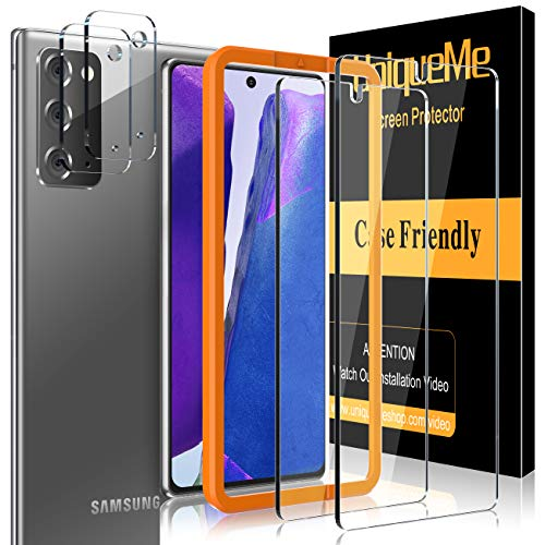 UniqueMe [2 pièces Verre Trempé et [2 pièces] Caméra Arrière Protecteur pour Samsung Galaxy Note 20 4G / 5G, [Couverture maximale][sans Bulles] Film Vitre Protection écran