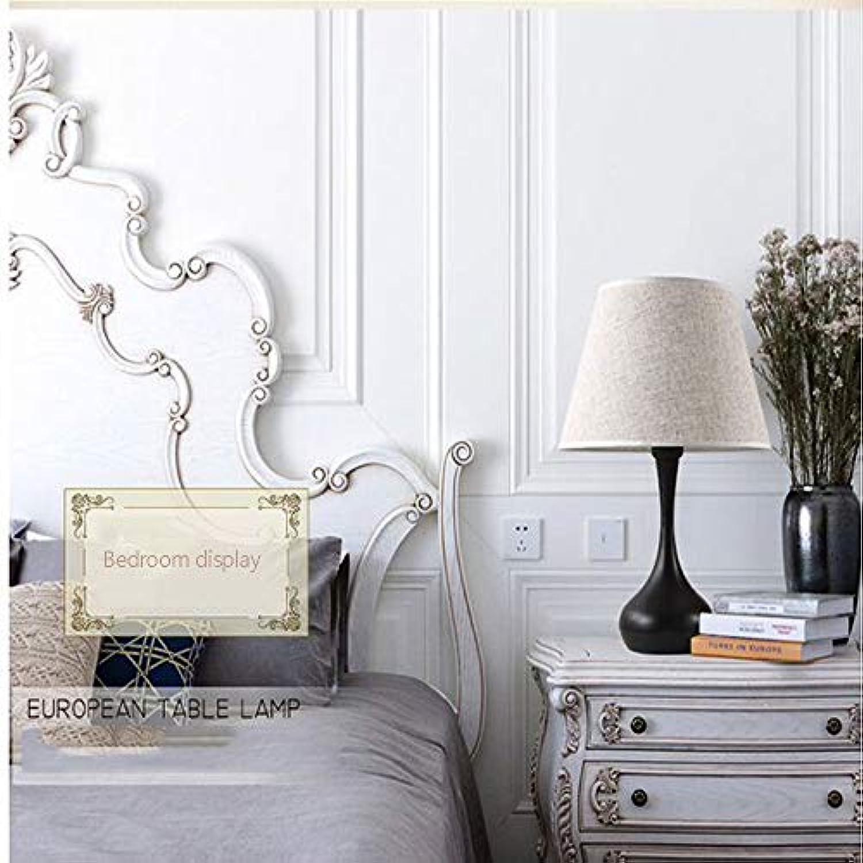 Nuanxin Nachttischlampe, Schlafzimmer, Hotel, Studie, Art Deco Einfache Moderne Schmiedeeisen Abdeckung Kreative Amerikanische Tischlampe, Gre  30  48 Cm J10 (Farbe   schwarz)