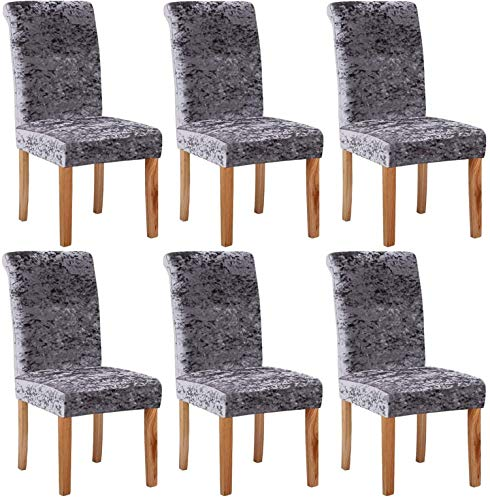 LINFKY Velvet Stretch Dining Chair Slipcovers - Spandex Plush Short Chair Covers, Washable Removable Chair Slipcover Dining Chair Protector Cover, for Kitchen, Dining Room (Gris,Set of 6)