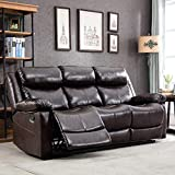 Harper & Bright Designs Recliner Loveseat Sofa Brown Leather Couch Modern Reclining Sofa Classic for Living Room (2-Seat Sofa)
