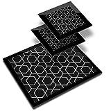 Destination 38306 - Mantel individual de vinilo (20 x 25 cm, 2 posavasos de 10 x 10 cm), diseño geométrico abstracto en lugar de trabajo/mesa/comedor/colchonetas/lavable y resistente al agua