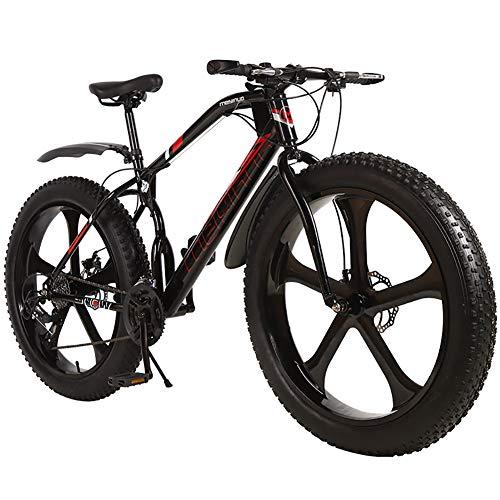 Outroad Fat Tire Mountain Bike Men,Snow Bike 26 Inch Speed,Double Disc Brake Anti Slip Bicycle 5 Spoke Wheels Black 21 Speed