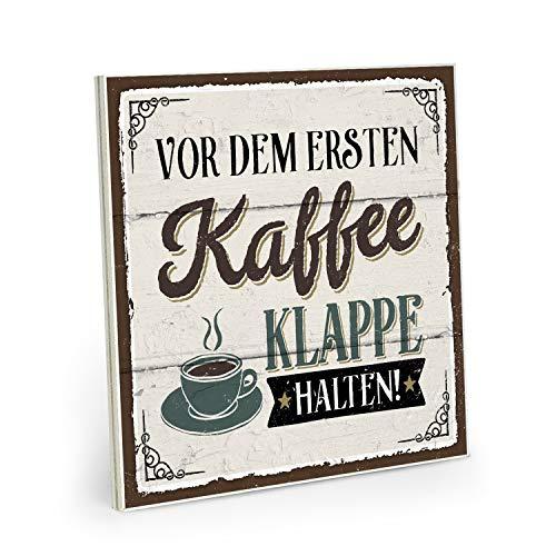 ARTFAVES Holzschild mit Spruch - Vor dem ersten Kaffee Klappe halten - Vintage Shabby Deko-Wandbild/Türschild