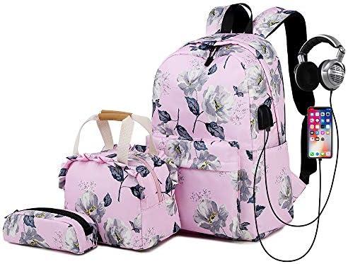 """Lmeison Backpack Set, Canvas Girls Bookbag 15"""" Laptop Backpack"""