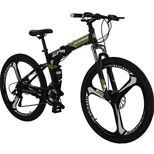 "Eurobike OBK G7 Folding Bike 21 Speed Full Suspension Mountain Bicycle 27.5"" Daul Disc Brake Mens Bikes Foldable Frame (Green 3 spoke wheels)"