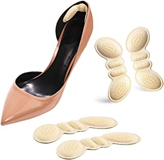 Heel Cushion Inserts/Heel Grips/Shoe Pads for Women Flat or High Heel to Prevent Heel Slipping Out of Shoes, Improve Shoes Too Big, Rubbing, Blisters, Foot Pain 2 Pairs (Beige)