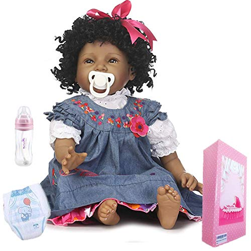 Realistic African American Baby Dolls Girl Reborn Baby Dolls Black Doll Lifelike Soft Vinyl Silicone Baby 22 Inches Handmade Reborn Babies Weighted Doll Eyes Open
