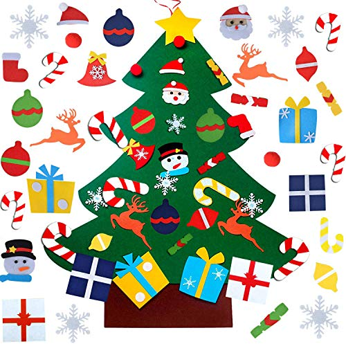 Felt Christmas Tree, DIY Wall Christmas Tree with 31 Pcs Detachable Ornaments Wall Decor with Hanging Rope for Toddlers Kids Xmas Gifts Home Door Decoration