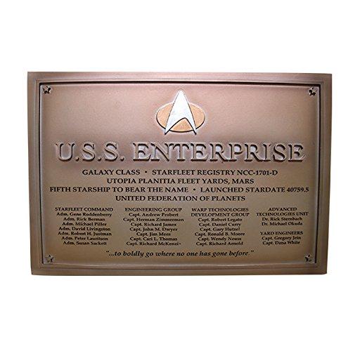 Eaglemoss Star Trek Starships Collection U.S.S. Enterprise NCC-1701-D Targa commemorativa 22x16 cm