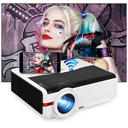 """WiFi Bluetooth Projector 6200LM Wireless HD Movies Projector 1080P LED Home Theater Projector 200"""" Display Compatible with Smartphone, Laptop, HDMI, USB, VGA, TV Stick, PS4 for Outdoor Entertainment"""