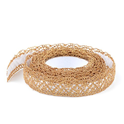 Simplydeko Selbstklebende Spitze (selbstklebendes Spitzenband, Spitzen-Tape selbstklebend) (Gold)