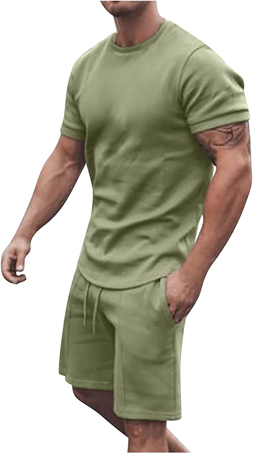 Men's Casual Tracksuits Short Sleeve Shorts Suit 2-Piece Outfit Solid Color Round Neck T-Shirt and Shorts Set