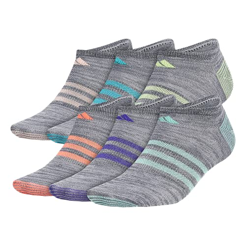 adidas Women's Superlite No Show Socks (6-Pair), Onix - Clear Onix Space Dye/Easy Green/Energy Ink Bl, Medium, (Shoe Size 5-10)