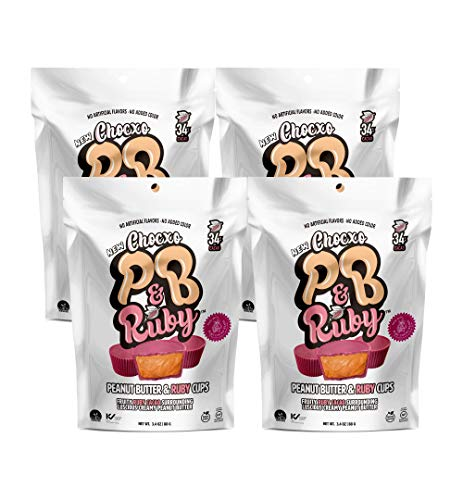 ChocXO Peanut Butter and Ruby Chocolate Cups | Fruity Ruby Chocolate Surrounding Creamy Peanut Butter | Non GMO, Gluten Free, Kosher and No Artificial Flavors or Colors, 88 g (4-Pack)