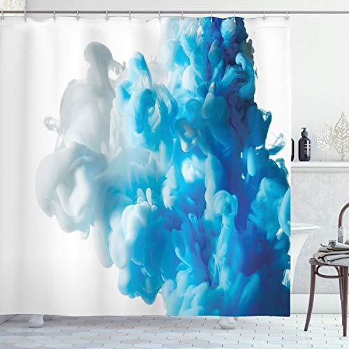 ABAKUHAUS Duschvorhang, Abstrakte Illustration Bewölkt Rauch Gemischten Flüssigen Fluss Bewegungs Kunst Druck Blau, Blickdicht aus Stoff inkl. 12 Ringe für Das Badezimmer Waschbar, 175 X 200 cm
