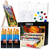 Acrylic Painting Set with 1 Wooden Easel 3 Canvas Panels30 pcs Nylon Hair Brushes 3 PCS Paint Plates and 2 PCS of 12ml...