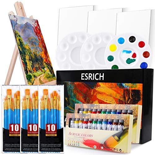 Acrylic Painting Set with 1 Wooden Easel 3 Canvas Panels30 pcs Nylon Hair Brushes 3 PCS Paint Plates...