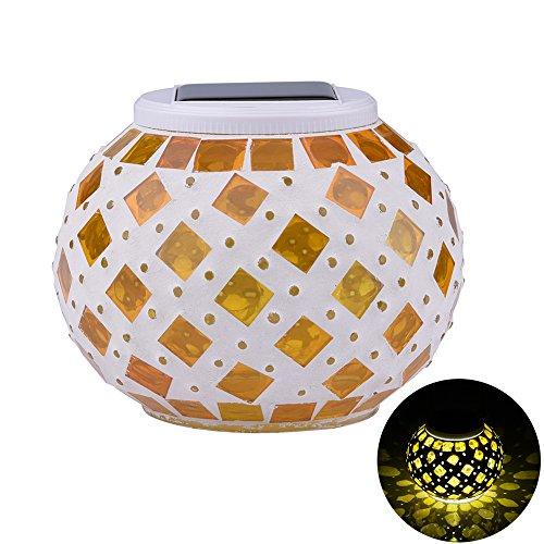 Lampes solaires de décoration de jardin en mosaïque de verre changeant de couleur, lampes de table solaires pour la maison, la cour, la terrasse, les décorations de fête