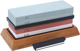 Docooler 400/1000 3000/8000 Grit Premium Whetstone Cut Sharpening Stone Set Ideal Sharpener for All Blades Non Slip Base C...