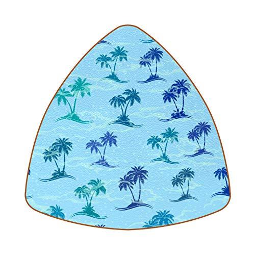 Posavasos triangulares para bebidas, islas del mar con palmeras, de cuero, para proteger muebles, resistente al calor, decoración de bar de cocina, juego de 6