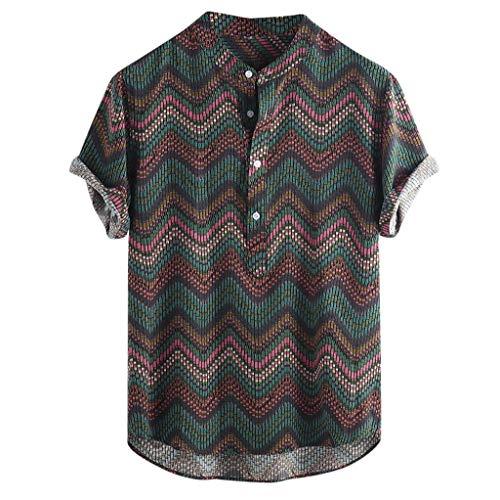 style_dress T-Shirt, Tshirt Homme Humour, T Shirt Homme Humour, T-Shirts à Manches Courtes en Coton ImpriméS HawaïEns à Col Montant pour Hommes
