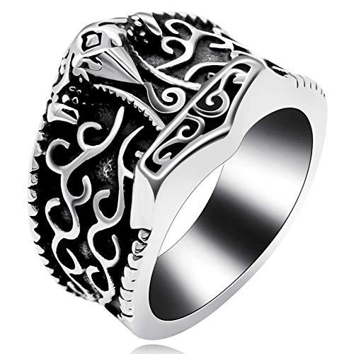 Uloveido Herren schwarz Biker Edelstahl Vintage Celtic Knot Mythos Thors Hammer Band Ring Jubiläumsgeschenke für Mann (Größe 62 (19.7))