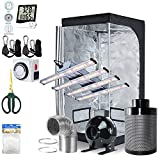BloomGrow 1200W LED Full Spectrum Professional Grow Light Strips + 32''x32''x63'' 600D Mylar Grow Tent Room + 4'' Inline Fan Air Carbon Filter Ventilation System Indoor Plant Grow Tent Complete Kit