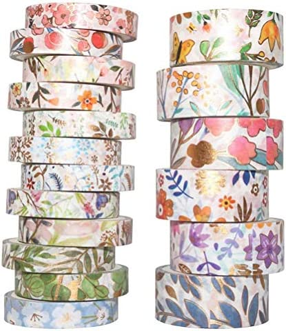 18 Rolls Washi Tape Set Masking Tape Decorative for Arts Scrapbook Supplies 2 Size 15mm and product image