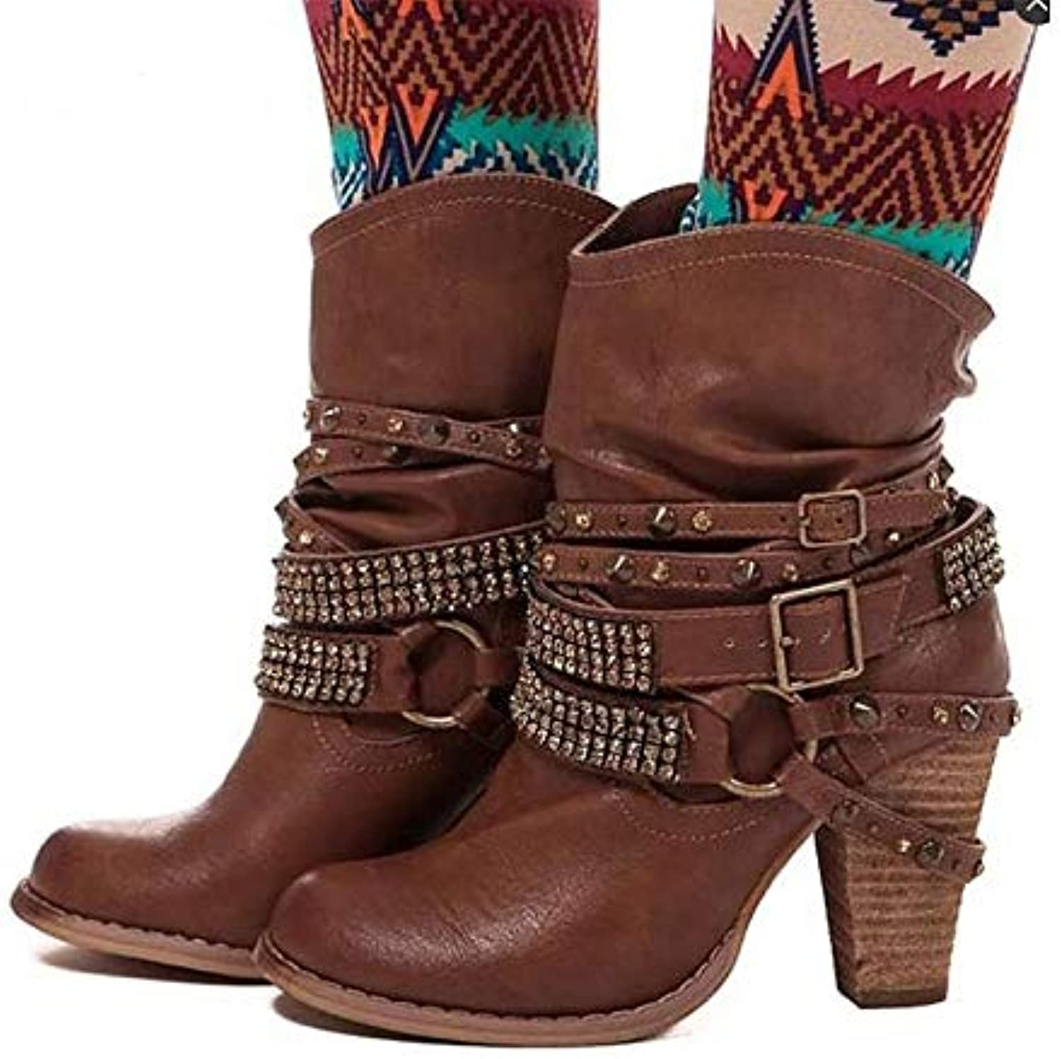 Women's Fashion Boots PU Fall * Winter Boots Chunky Heel Pointed Toe MidCalf Boots Rhistone /Rivet / Buckle Coffee /Brown / Khaki