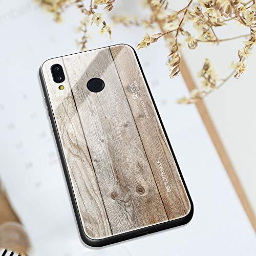 Ysimee kompatibel mit Huawei P20 Lite Hülle - Holz Design Gehärtetes Glas Zurück mit Weiche TPU Silikon Rahmen Schutzhülle Silikon Bumper Schutz vor Stoßfest/Scratch HandyHülle, Holz -4