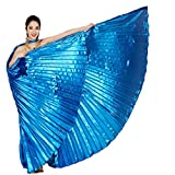 Baisdan Opening Worship Isis Wings Egyptian Belly Dance Festival Costume Angle Isis Wings with Sticks/Rods Navy Blue