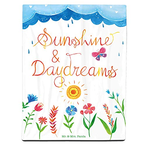Mr. & Mrs. Panda Sofadecke, Wohndecke, 125x155cm Kuscheldecke Sunshine and Daydreams mit Spruch - Farbe