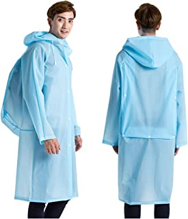 Freesmily Unisex Long Raincoat EVA Rain Poncho Waterproof Hooded Rain Coat with Backpack Position