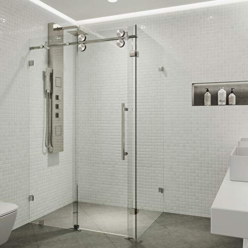 VIGO Winslow 36 x 60-in. Frameless Sliding Shower Enclosure with .375-in. Clear Glass and Stainless Steel Hardware