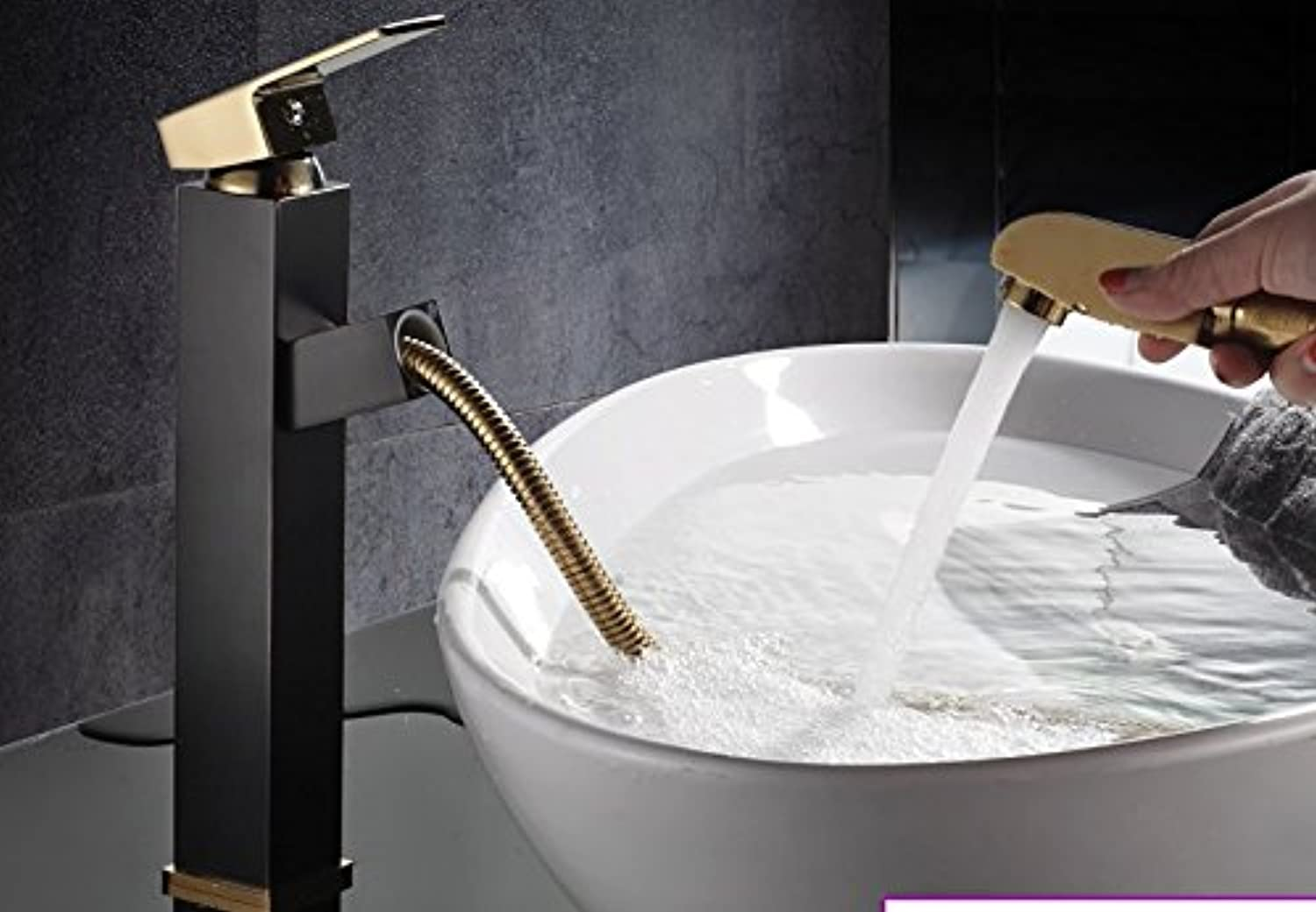 SCLOTHS Bathroom Basin Sink Mixer Tap Modern copper,hot and cold faucet,pull out,gold,s-773