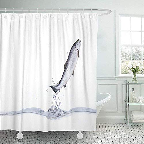 Duschvorhänge,Lachs Springt Aus Forellensalat Angeln Design Polyester Badezimmer Gardinen,183x183cm