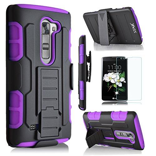LG K7Case, starshop [Heavy Duty] Dual Schichten mit Gürtelclip und ausklappbarem Seitenständer mit Displayschutzfolie, schwarz