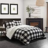 Dearfoams Buffalo Plaid Royal Plush 3 Piece Comforter Set with Sherpa Reverse, Queen Size, Black/White
