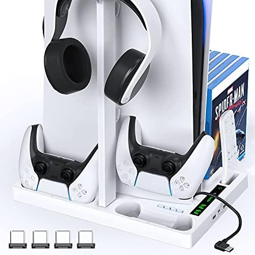 OIVO Soporte PS5 con Enfriador y Soporte para Auriculares, Enfriador PS5 y estación de Carga del Mando PS5 para Playstation 5, Accesorios PS5 para Consola PS5 con 15 Juegos Ranuras