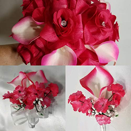 Fuchsia Ivory Calla Lily Bridal Wedding Bouquet /& Accessories