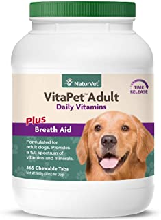NaturVet – VitaPet Adult Daily Vitamins for Dogs – Plus Breath Aid – Provides a Full Spectrum of Vitamins & Minerals – Enhanced with Omega-6 Fatty Acids