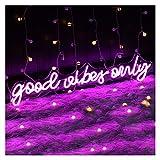 Insegne al neon personalizzate GOOD VIBES ONLY per la decorazione della parete, insegne al neon a LED viola dimmerabili fatte a mano per la decorazione della parete della camera da letto