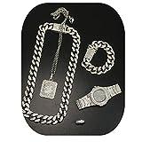 Men Watch Iced Out Cuban Hip Hop Watch &Necklace &Pendant & Bracelet &Ring Combo Set Pendant Rapper Men's Jewelry Set (22 inch, Sliver)