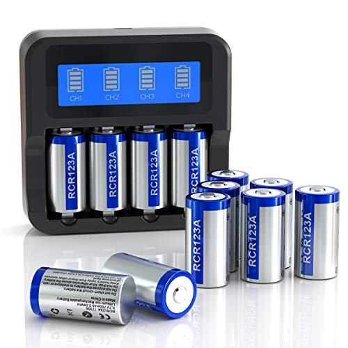 Elebase CR123A Rechargeable Batteries and Charger Combo Pack, Four Slots LCD Display Charger with 12 Pack 3.7V 700mAh RCR123A Batteries for Arlo Cameras (VMC3030/VMK3200/VMS3330/3430/3530)