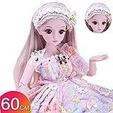 Muñeca BJD de 23.6 pulgadas, muñecas SD 19 extremidades articuladas muñeca realista activa para el cuidado de la educación temprana para más de 3 años modelo acompañante regalo de juguete para niña