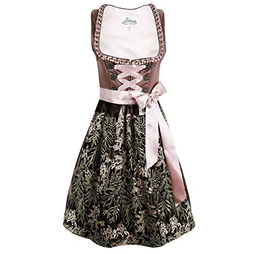 Iseaa Damen Dirndl Kleid Dirndlkleid Trachtenkleid Greta Violet mit Spitze 42
